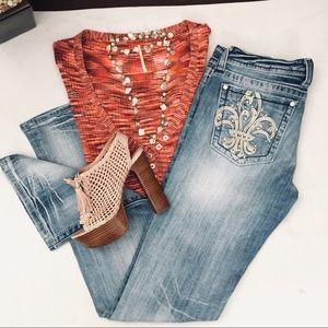 Miss Me stretch denim distressed boot cut jeans-31